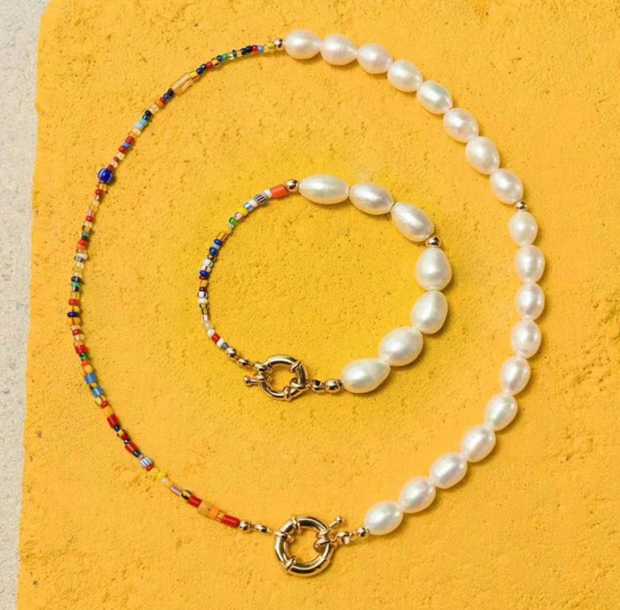 2020 Fashion Real Pearl Jewelry Set Bohemian Multi-Color Glass Beads Freshwater Pearl Necklace and Bracelet for Women Party