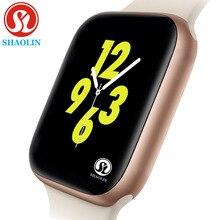 44mm relógio inteligente série 4 caso smartwatch para apple iphone android telefone inteligente monitor de freqüência cardíaca pedômetro (botão vermelho)