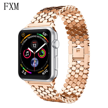 цена на Strap for Apple Watch Band 42mm/38mm Link Bracelet Stainless Steel Correa Luxury Watchband for Iwatch 5/4/3/2/1 44mm/40mm wrist