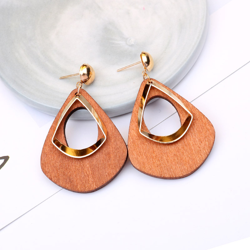 Hello Miss Cold wind fashion Stud earring retro geometric wooden drop shape long pendant earrings personality women 39 s earrings in Stud Earrings from Jewelry amp Accessories