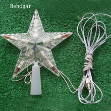 Behogar กระพริบ LED สีเปลี่ยนหลอดไฟคริสต์มาสต้นคริสต์มาส Topper Star ตกแต่ง EU Plug สำหรับ Home Navidad kerst Natale