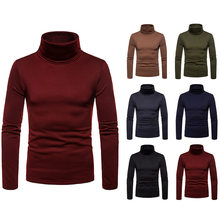 autumn Long sleeve t-shirt men turtleneck t-shirts Solid color casual fashion harajuku warm turtleneck t-shirts for men TJWLKJ(China)
