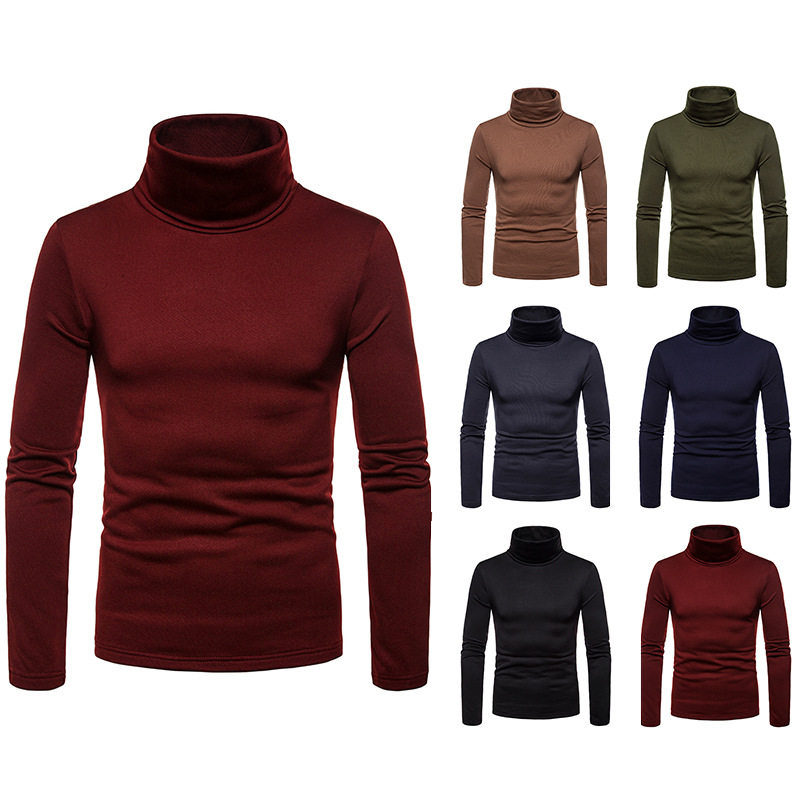 Autumn Long Sleeve T-shirt Men Turtleneck T-shirts Solid Color Casual Fashion Harajuku Warm Turtleneck T-shirts For Men  TJWLKJ