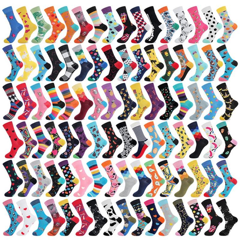 1 Pair Combed Cotton Men Fashion Trend Crew Socks Funny Geometry Plaid Tongue Printed Men Novelty Long Socks Happy Cartoon Socks