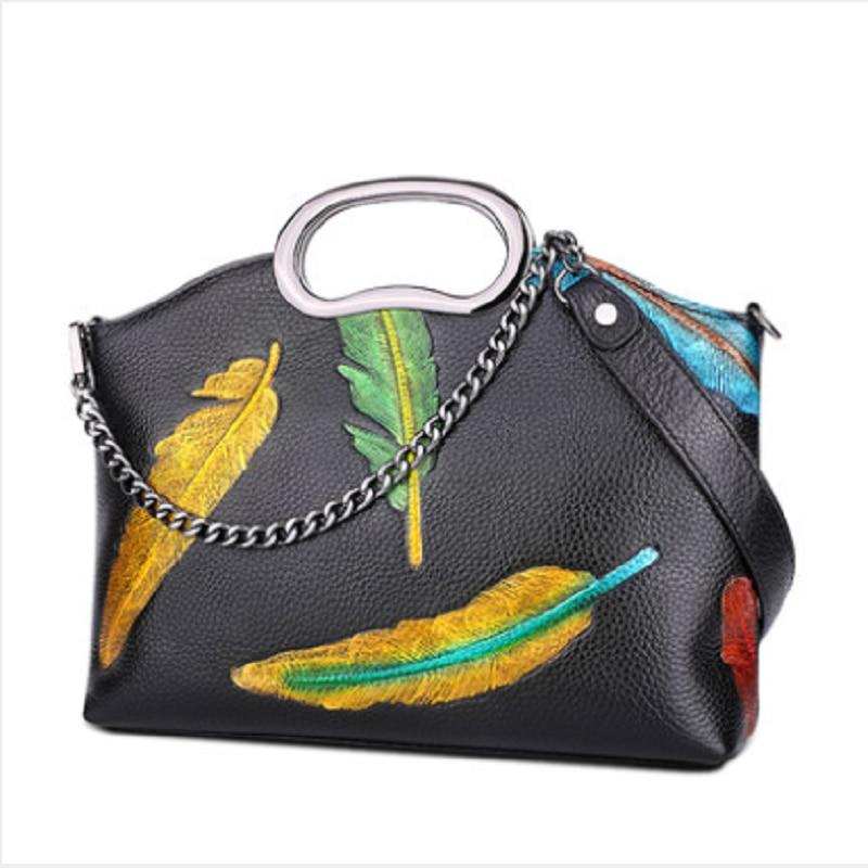 LOLIBOX кожаная сумка через плечо для отдыха Наклонная Сумка на цепочке кожаные клатчи для ноутбука сумки цветной рисунок или узор