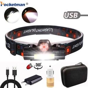 Image 1 - 5000LM פנס נייד רב עוצמה LED USB נטענת XPE + COB פנס מובנה סוללה עמיד למים ראש לפיד ראש מנורה