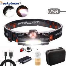 Linterna frontal LED portátil de 5000LM, recargable vía USB, XPE + COB, batería integrada, resistente al agua