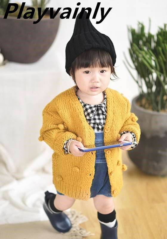 Wholesale Girl Sweater Girls Cardigan Knitting Wool Fashion Pompom Ball Sweaters Kids Coat Baby Girl Winter Clothes E83017