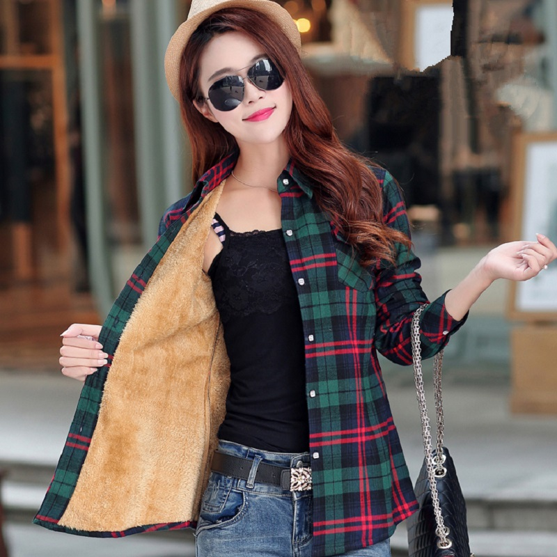 Winter Warm Blouses Women Autumn Tops Coats Camisa Femininas Long-sleeve Thick Velvet Plaid Shirt Flannel Shirts Full Cotton Top