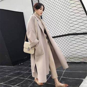 Elegant X-Long Plus Size Coat Winter Women Belted Solid Women's Jacket Korean Women's Black Wool Ladies Turtleneck Manteau flounce trim belted coat