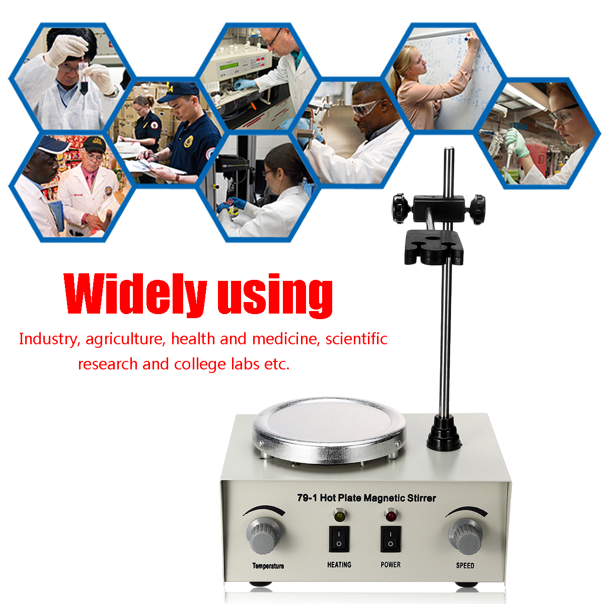 Lab Heating Dual Control Mixer US/AU/EU 79-1 110/220V 250W 1000ml Hot Plate Magnetic Stirrer No Noise/Vibration Fuses Protection