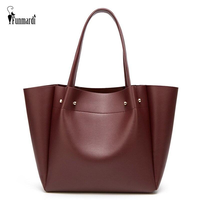 FUNMARDI New Lady Large Tote Bags Vintage Simple Shoulder Bags PU Leather Women Bags Casual Trendy Big Female Handbags WLHB2012