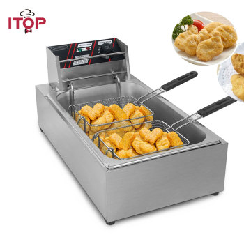ITOP 12L Single Cylinder Electric Deep Fryer Stainless Steel Potato Chip Chicken Frying Machine With Double Fried Baskets df5g free standing electric temperature controlled commercial deep donut large capacity chicken chip fish fryer with basket