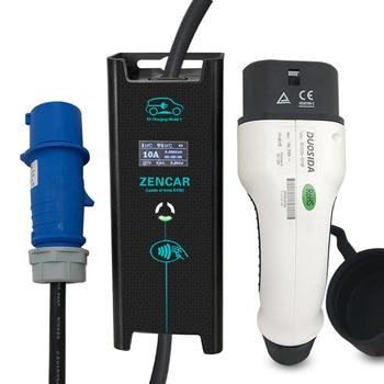 Portable EV Charging Mode 2 ev quick charger portable electric car charger leaf portable charger with 16A blue CEE zencar ce 16a 24a 32a portable type 2 blue cee connector evse level 2 ev charger