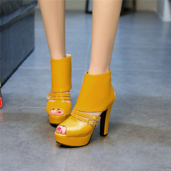 Womens High Heels Ankle Summer Boots Shoes Peep Toe Buckle Strap Gladiator Sandals Lady Yellow Black Party Shoe Big Size