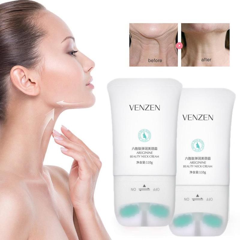 110g Six Peptide Neck Massage Cream With Double Roller Firming Anti Wrinkle Moisture Neck Serum Massage Treatment Skin Neck Care