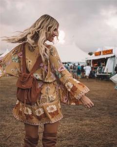 Image 4 - Robe dété Boho, Vintage, à ceinture imprimé floral, manches chauve souris, kimono bohémien, col en V, à glands, robe de plage