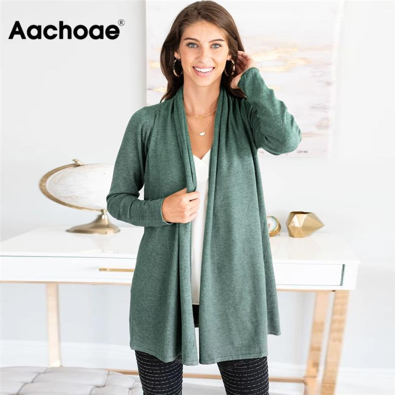 Casual Sweater Women Pure Long Sleeve Cardigan Coat 2020 Autumn Fashion Knitted Jumper Cardigan Plus Size Outerwear Womens Tops