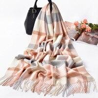 Plaid Cashmere Scarf Women Winter Autumn Large Pashmina Shawls Echarpe 2019 Luxury Warm Soft 100% Cashmere Scarves For Ladies