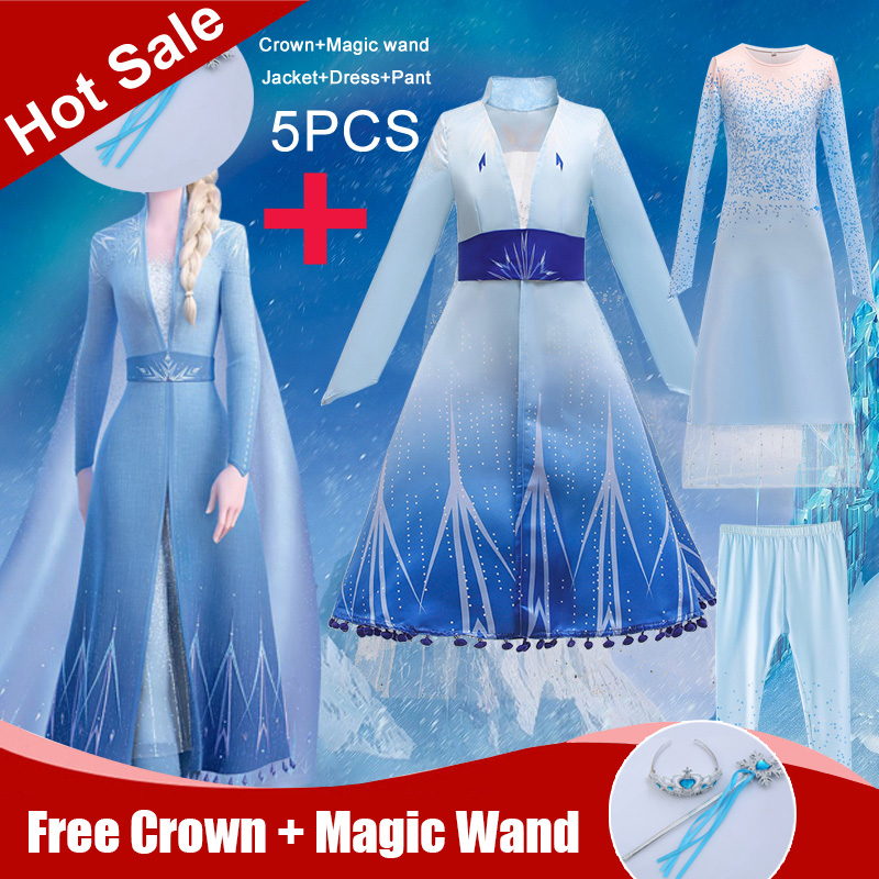 Summer Snow Queen Frozen 2 Dress Girl Anna Elsa Kids Dresses Girls Children Lace Princess Cosplay Dress With Crown Magic Wand