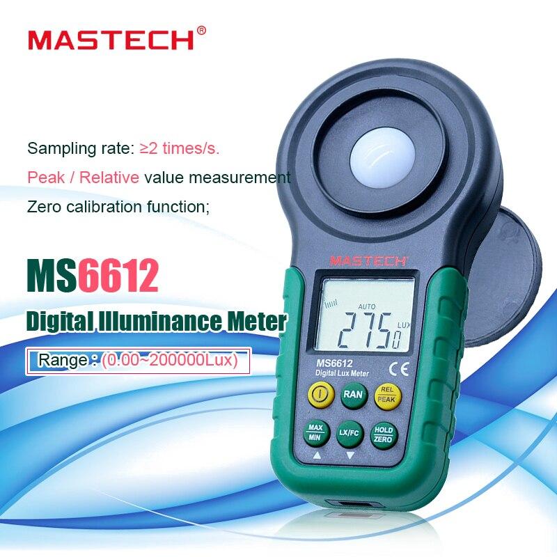 Mètre de Lux mastech ms6612S 200,000 Lux spectres d'essai de mètre de lumière gamme automatique illuminomètre numérique de luxmètre de haute précision