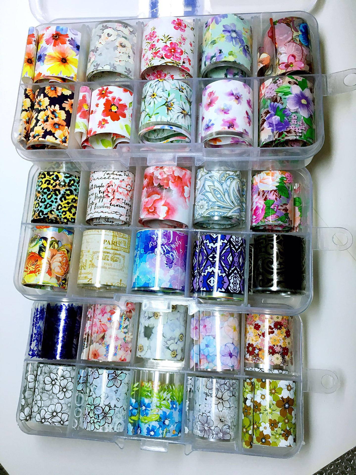 2.5X100cm Holographic Nail Art Transfer Foil Sticker Starry AB Paper Wraps Adhesive Decals Nails Decoration Accessories