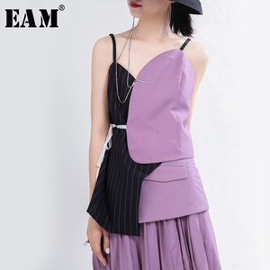 [EAM] Women Purple Blue Striped Asymmetrical Camis New V-collar Sleeveless Personality Fashion Tide Spring Autumn 2020 1T977