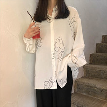 2019 Korean version of the spring and autumn new abstract line print loose long-sleeved shirt