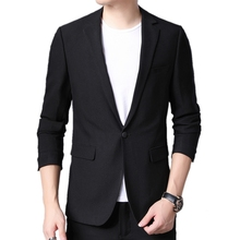 Suit Jackets Blazers Costume Business Long-Sleeve Classic Black Male Casual Autumn One-Button