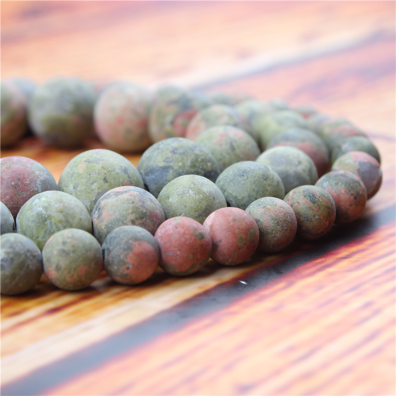 Frosted Green Natural Stone Bead Round Loose Spaced Beads 15 Inch Strand 4/6/8/10/12mm For Jewelry Making DIY Bracelet