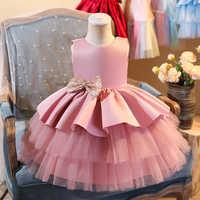 Vestido de verano con lazo grande para bebé y niña, traje de boda para fiesta de cumpleaños para 1er niña, Vestidos de Noche de princesa del palacio, ropa para chico