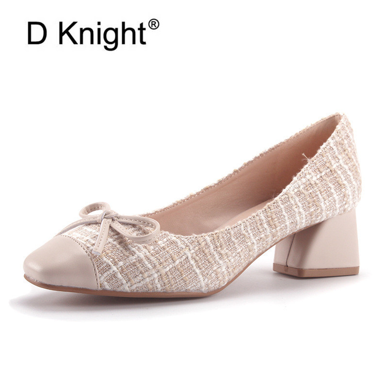 New Fashion Square Heels Women Pumps Plaid  Shallow Mouth High Thick Heels Footwear 2020 Spring Party Office Ladies Shoes Pumps