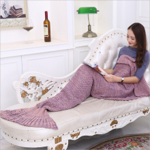 Soft Mermaid tail sleeping bag for Adult Childern 10 colors Handmade knitted Blanket Sofa throw blankets Creative Gift Blankets knitted fishbone sofa wrap kids mermaid tail blanket
