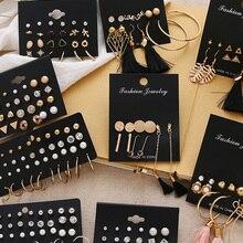 Earrings-Set Geometric Fashion Jewelry Crystal Heart Bohemian Women's FNIO