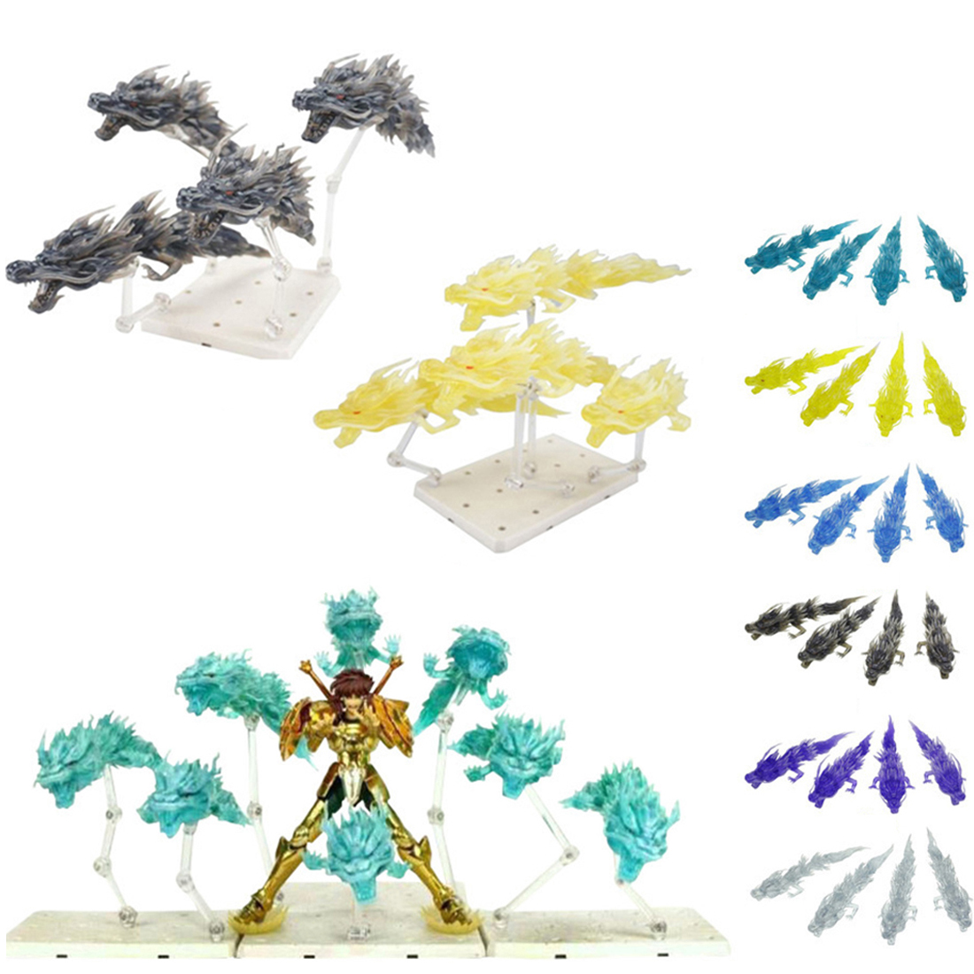 4Pcs Dragon Special Effect Decoration Dragon Model For General Scale Model Saint Cloth Myth Shiryu Mount Lu Rise Dragon - Purple