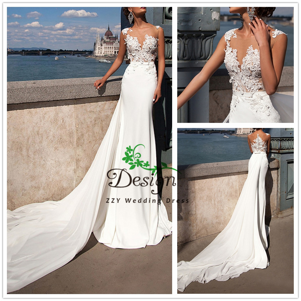 2019 Romantic Illusion Appliques Sash Zipper Up Long Tail Wedding Dresses With Train Chiffon Dropped Custom-Made Wedding Dresses