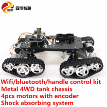 SZDOIT WIFI/Bluetooth/Handle Control Metal TS400 4WD Crawler RC Robot Shock Absorbing Tank Chassis Kit Motor DIY Unassembled Toy doit wireless handle joystick control kit for robot crawler tank car chassis with arduino ir obstacle avoidance diy rc toy