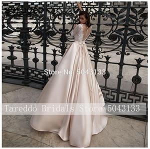 Image 2 - Modeste Satin robes de mariée avec poche Vestido de Noiva dentelle demi manches robe de mariée 2021 étage longueur Champagne robes de mariée
