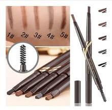 5 cores dupla cabeça rotação automática sobrancelha lápis impermeável longa duração fácil aplicar maquiagem tslm1