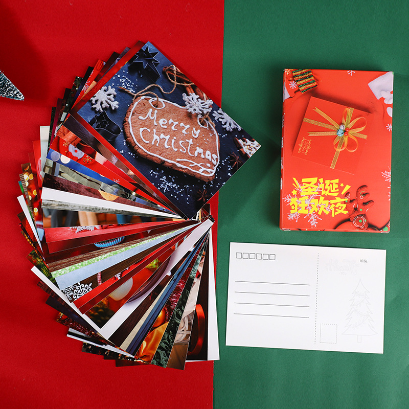 30 Pcs/Set Creative Christmas Eve Series Postcard DIY Cartoon Greeting Cards Message Card Xmas And New Year Gift