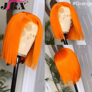 Image 4 - JRX שיער כתום מראש בצבע תחרה מול פאה 100% שיער טבעי בוב פאה בצבע מראש קטף ברזילאי 13*4 תחרה מול פאות