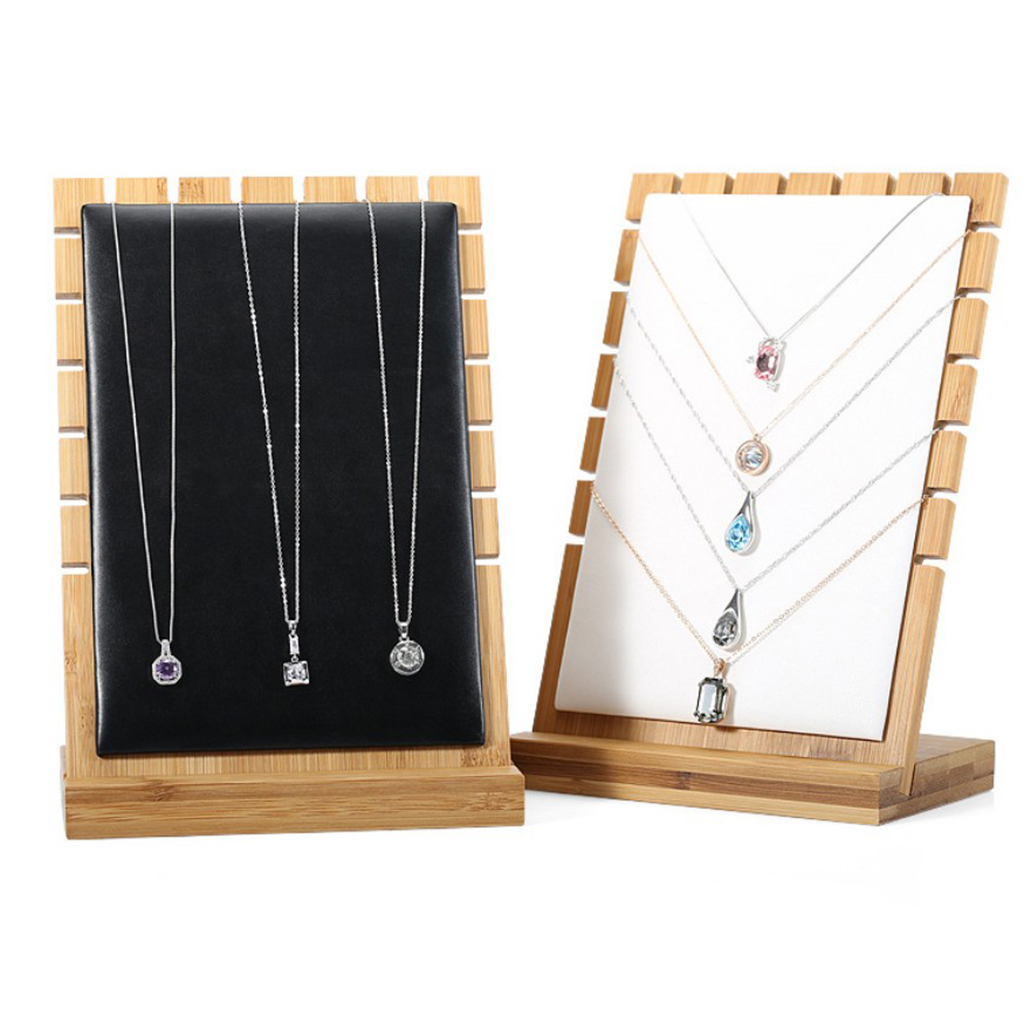 Black/White/Beige, Modern Wooden Necklace Jewelry Tabletop Display Board for Jewelry Shops