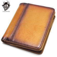 Dip Dye RFID Blocking Mens Imported Top Layer Leather Brushed Wallet Handmade Retro Pure Coin Purse