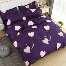 purple love printed duvet cover set king queen twin full double single size bedding set super soft bed sheet set for home quilt(China)