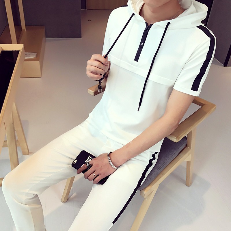 Summer Fashion 2020 Short Sleeve Suits Pullover Hooded Casual Plain Solid Slim Fit Skins Compression Trouser For Men Suit Sets
