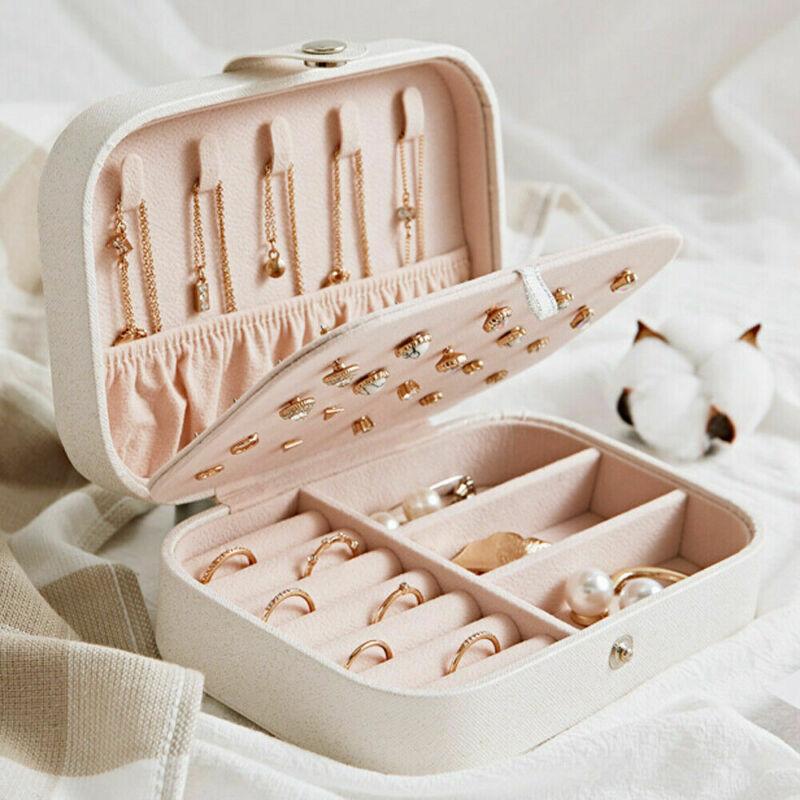 Jewelry Organizer Display Travel Jewelry Case Boxes Portable Jewelry Box Button Leather Storage Zipper Jewelers