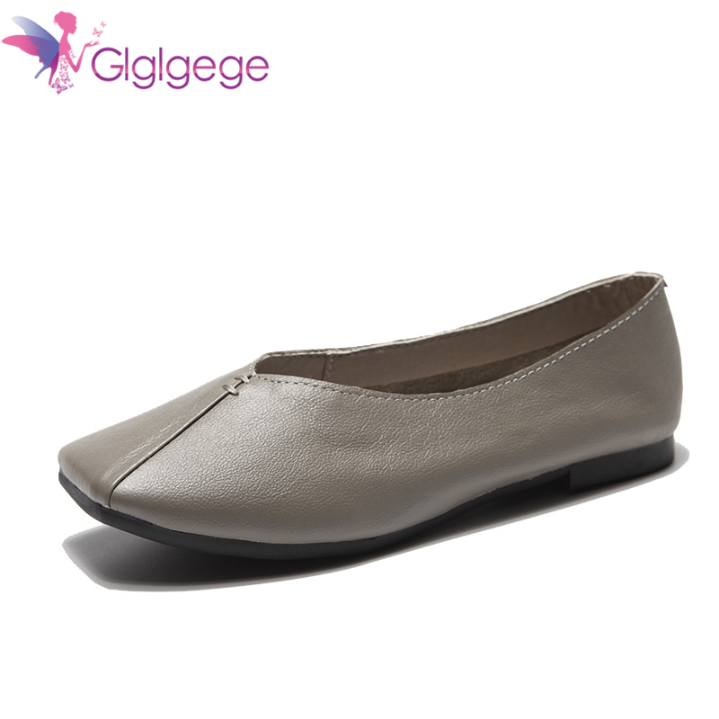 Glglgeg Female Leather Casual Shoes Women Flats Plus Size Genuine Leather Shoes Women Loafers Slip On Moccasins Nurse Flat Shoes