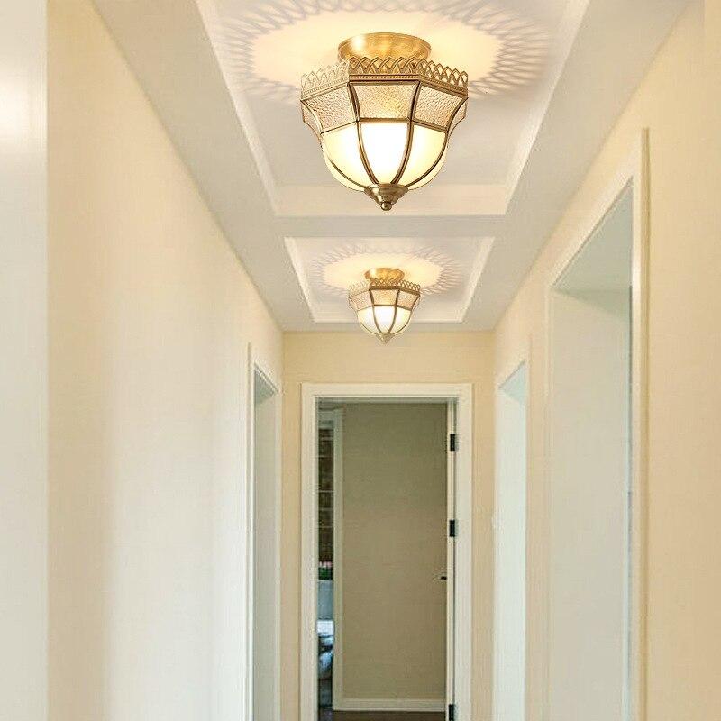 LukLoy classique cuivre plafonnier couloir rétro lumières universel E27 vis lumière Source Loft allée entrée plafonniers - 3