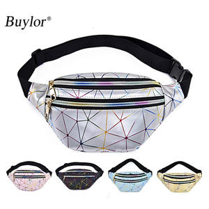 Buylor Holographic Fanny Pack Women Waist bag Female Belt Bag Girls Fashion Geometric Waist Packs Laser Chest Phone Pouch