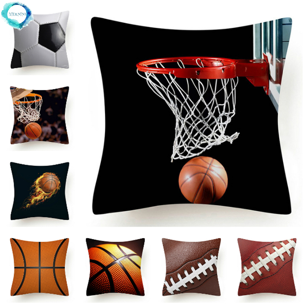 football basketball rugby printed polyester cushion cover modern sofa bed decorative sport throw pillow cover pillowcase 45x45cm